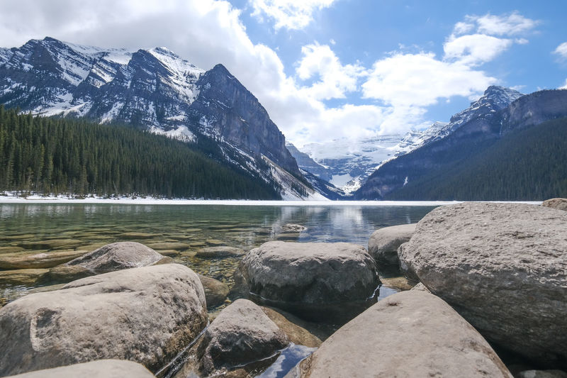 Scenic view of lake louise by snowcapped mountains against sky