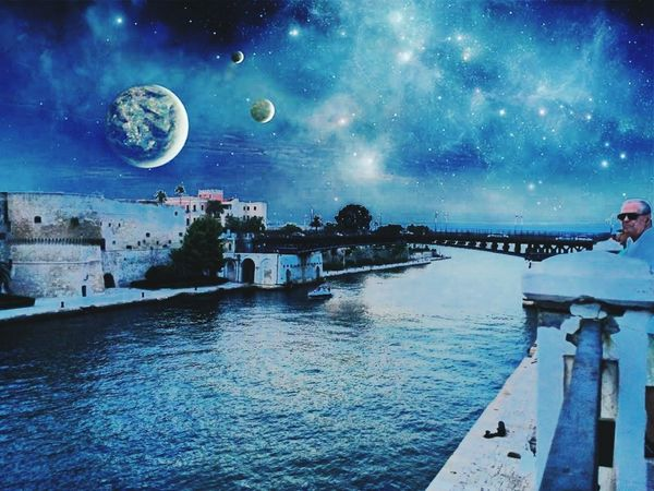 Taranto Astronomy Night Sky Blue Water Architecture City Ponte Castle Castello Moon Scenics Galaxy Outdoors Constellation Fake Space Aragonese Castle