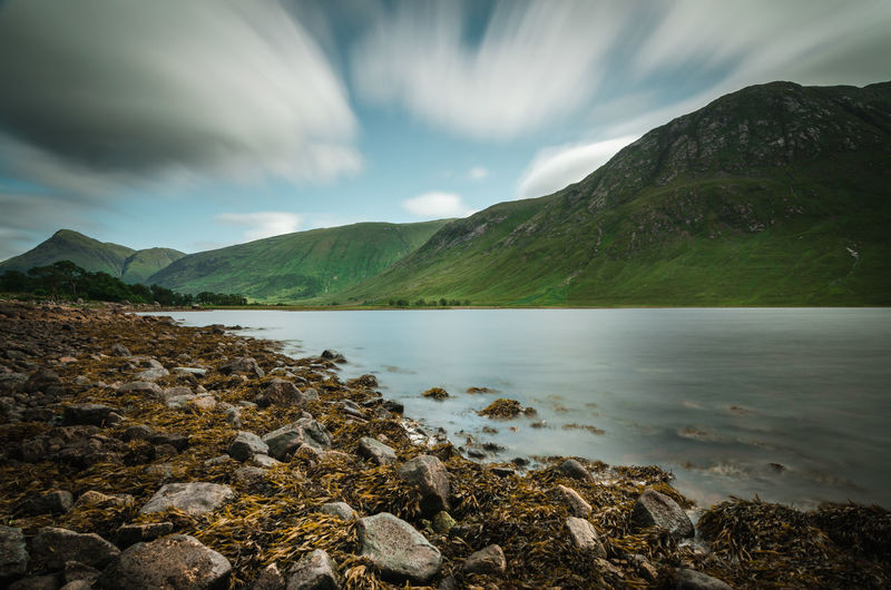 Long exposure of a lake in the scottish highlands