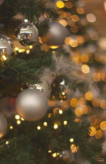 Christmas christmas tree Celebration Christmas Decoration Decoration Illuminated Tree Christmas Ornament Christmas Lights Indoors  Close-up No People Focus On Foreground Light