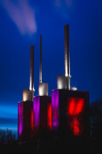 Three warm brother in Hannover during a morning in winter Building Exterior Sky Smoke Stack Factory Industry Built Structure Architecture Environmental Issues Blue Pollution Environment Cloud - Sky No People Night Dusk Illuminated Fuel And Power Generation Outdoors Purple Air Pollution Heating Plant Power Plant Hannover Architecture Industry