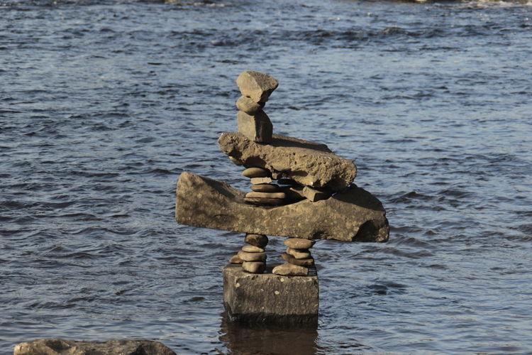 Stacks of rocks in sea