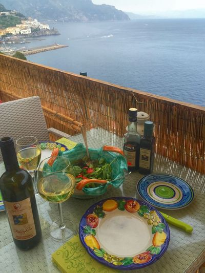 Liquid Lunch in Amalfi, Italy, on the deck looking down on Amalfi Town. Delicious Gorgeous Day great memories Wine Moments