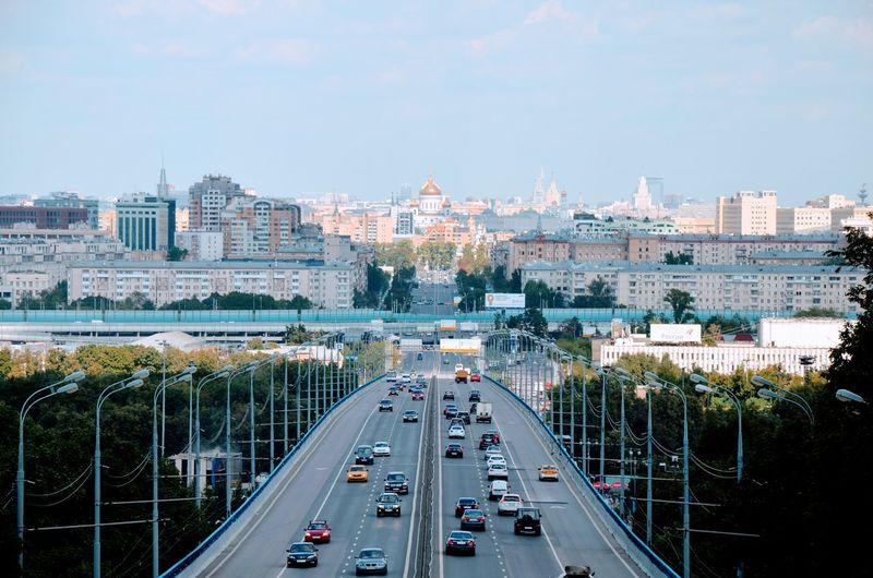 City Sky Road No People Architecture Tree Highway Traffic Moscow Transportation