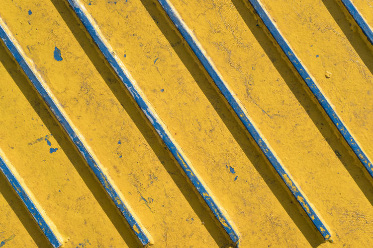 Line textures in yellow color Backgrounds Boat Close-up Day Diagonal Lines Full Frame Lines No People Outdoors Stripes Pattern Textures Yellow