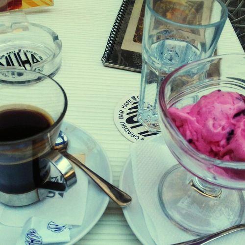 High Angle View Indoors  No People Table Day Close-up Coffee ☕ American Coffee Ice Cream ❤ Pleasures Of Life Tasty😋 Coffeebreak Sweet Pleasure