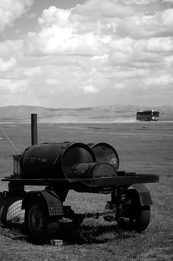 BBQ Mongolia Black And White Cloud - Sky Day Land Landscape Mode Of Transportation Nature No People Outdoors Scenics - Nature Sky Steppe Transportation Монгол улс