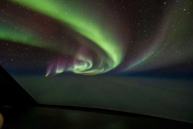 Aerial View Aurora Borealis Night Star - Space Space Beauty In Nature Sky Astronomy Scenics - Nature Green Color No People Nature Dramatic Sky Tranquility Environment Natural Phenomenon Aurora Polaris Tranquil Scene Idyllic Majestic Star Landscape