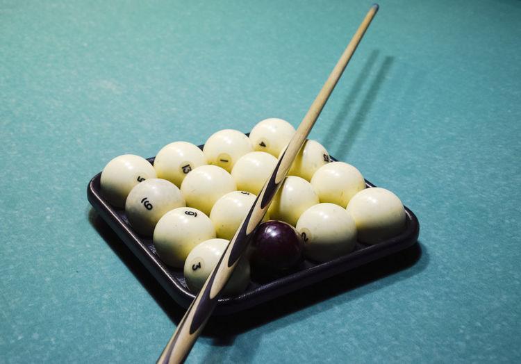 High angle view of snooker balls on table