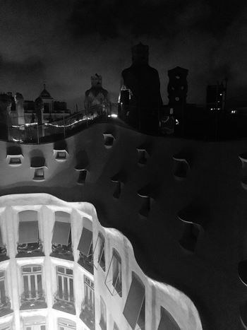 La Pedrera by night Architecture B&W Collection Building Exterior Rooftop Urban Geometry Urban Lifestyle Urban Exploration History Black & White Black And White Photography Sculpture Gaudi Barcelona, Spain Gaudì Architecture Work Holidays In Catalonia Holidays In Spain