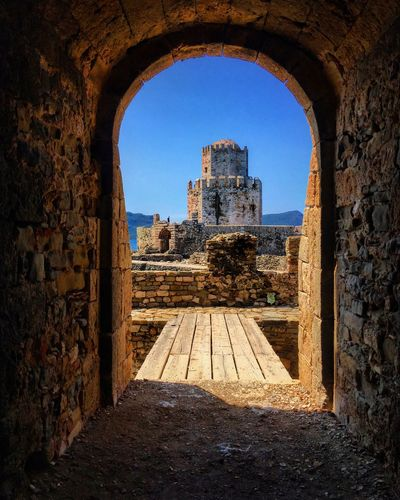 Takemetomethoni Methoni Castle Architecture Sky Built Structure Nature Sunlight History Travel Destinations Clear Sky Old Ruin