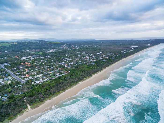 Aerial view of Suffolk Park suburb and ocean coastline in New South Wales, Australia Australia Australian Landscape Byron Bay Coastline Coastline Landscape Drone  Panorama Panoramic Suffolk Park. Byron Bay. Aerial Aerial Photography Aerial View Drone Photography Landscape Suffolk Park