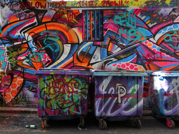 Melbourne Street art Graffiti Multi Colored Art And Craft Creativity Street Art Wall - Building Feature No People Text Day Architecture Craft Rudeness Messy Paint Western Script Built Structure Wall Outdoors Garbage Mural