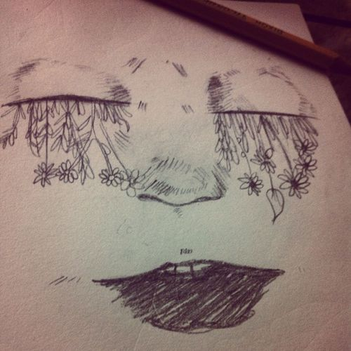 What a strange feeling Art Aerieart Sketch Latenightsketchss drawing face flowers