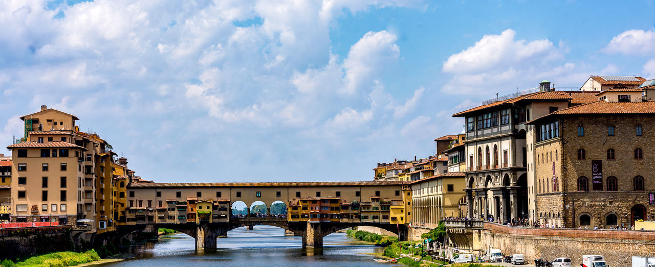 Another iconic structure in Tuscany. This is the famous Ponte Vecchio bridge in Florence. It's discriped in one of Dan Brown's novels. It's mavelous. I had some luck that it was cloudy the day I made this one. Normaly in this period the sky is all blue in Tuscany. It was btw very hot that day. Beautiful Cityscape Love RainerPhoto Arch Architecture Bridge - Man Made Structure Building Exterior Built Structure City Cloud - Sky Connection Day Famous Place Florence Landmark No People Outdoors Photography Photooftheday Ponte Vecchio River Sky Travel Destinations Water