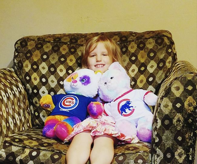Happy Goose Day! Gwinning Gwenniegoose Raise Em Right Cubs  Cubbie Bear Bleed Cubbie Blue Birthday Childhood Child One Girl Only Front View Indoors  Sitting Blond Hair Mix Yourself A Good Time
