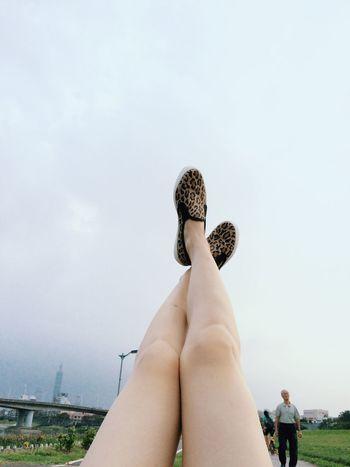 too Lazy zzzz Lye on the bench in Riverside Park near Taipei 101 sleepy Leopard Shoes