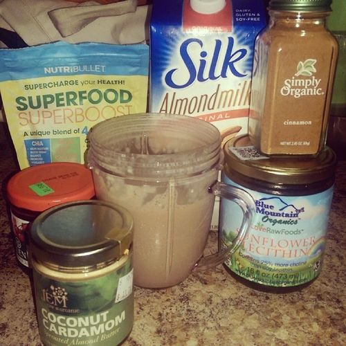 My smoothie components lol Bluemountainorganics Sunflowerlecithin Nutribullet Superfoodsuperboost simplyorganic cinnamon edenfoods cherrybutter sprouted almondbutter coconutcardamom from @jemraworganics and silk almondmilk approved by @nongmoproject
