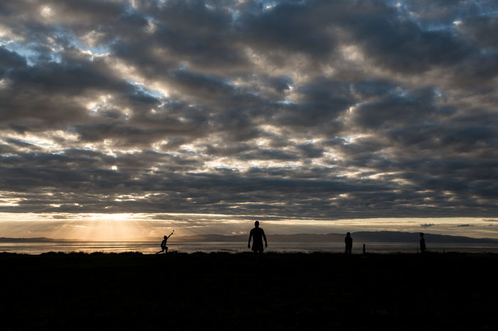 God smiles on New Zealand cricket Coromandel Coromandel Peninsula Cricket! New Zealand North Island NZ Playing Cricket Silhouette Silhouettes Sunset Sunset Silhouettes Thames