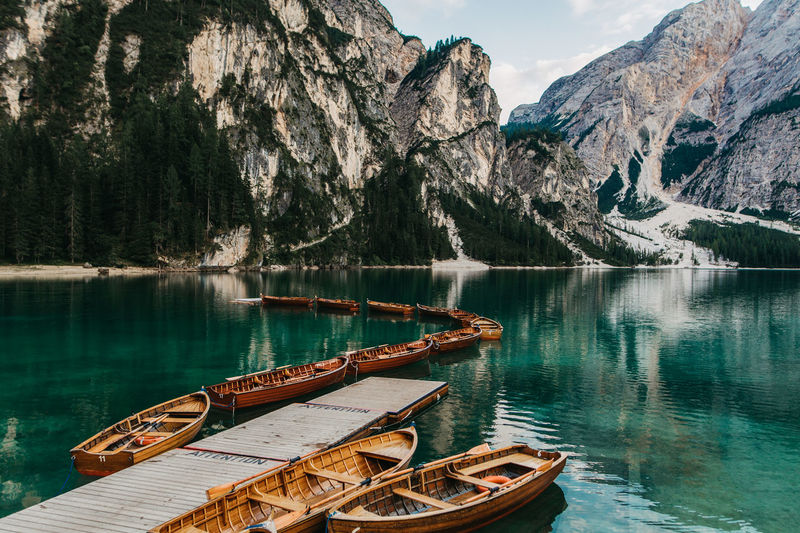 boats at lake braies italy Beauty In Nature Lake Pragser Wildsee Lagodibraies Lake Braies Boats Südtirol Mountain Range Transportation Idyllic Outdoors Rowboat Scenics - Nature Mountain Southtyrol  Nature Nautical Vessel Water Canon_photos Canonphotography Tranquil Scene Tranquility Tree Italy Non-urban Scene