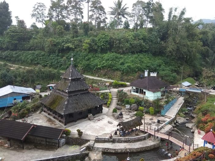 High angle view of temple amidst buildings and trees