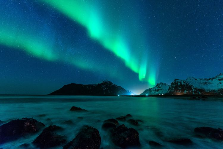 Northern light scenery at lofoten island, norway.
