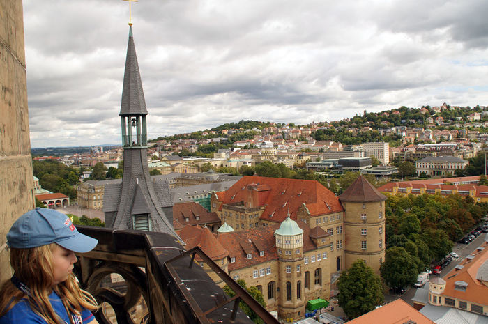 Our daughter in the tower of the Collegiate Church. A look at the second tower of the church and the old castle of Stuttgart. Castle Church Old Castle Stuttgart Tourism Tourist Tourist Attraction  Tourist Destination Tower View Viewers