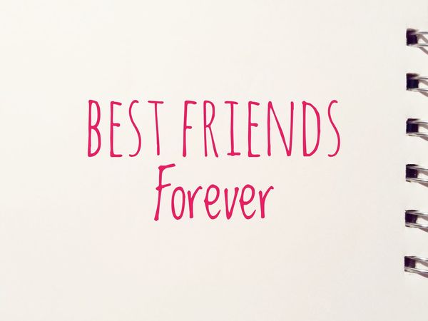 Best Friends Forever  Bff Close-up Communication Day Exclamation Point Handwriting  Indoors  Message No People Notebook Paper Text White Background Written