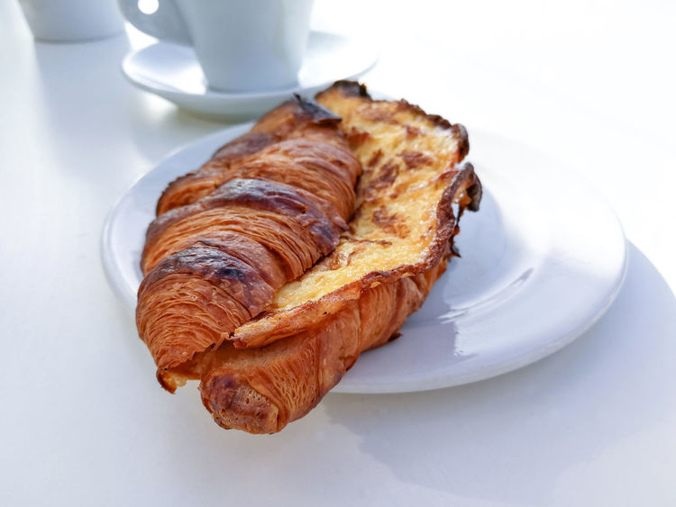 Baked Baked Pastry Item Breakfast Close-up Coffee - Drink Coffee Cup Croissant Day Drink Food Food And Drink French Food Freshness High Angle View Indoors  No People Plate Puff Pastry Ready-to-eat Serving Size Sweet Food White Background