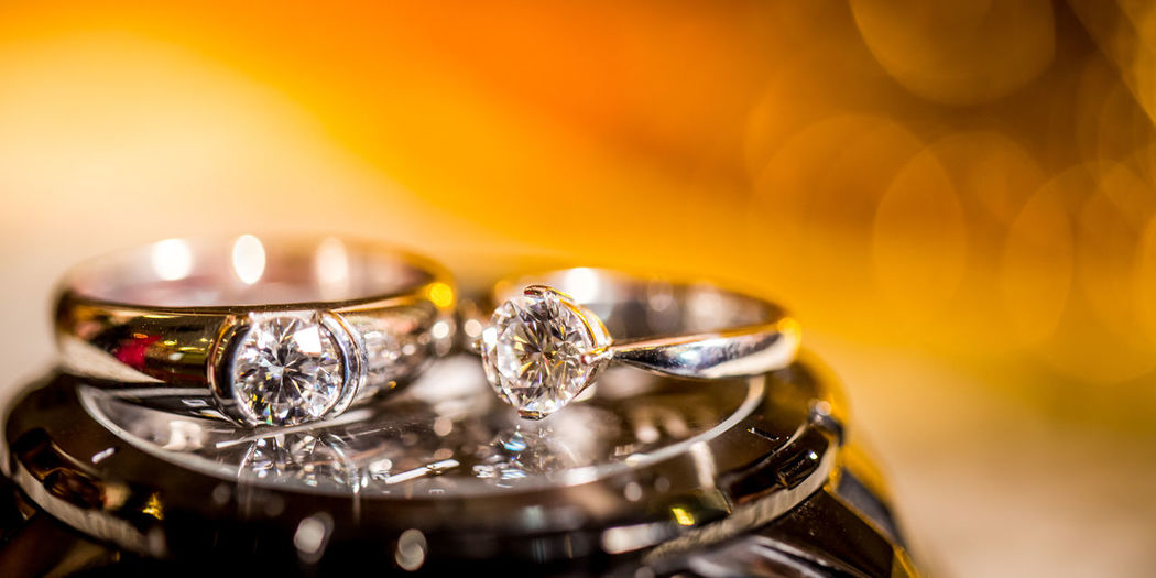 Close up of diamond rings