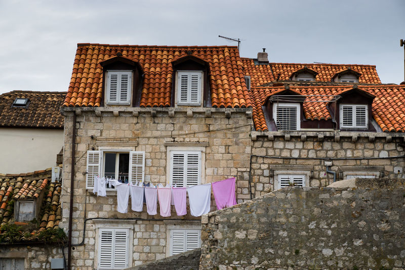 Brick Wall Building Croatia Dubrovnik Exterior Laundry Old Residential Building Residential Structure Tile Town TOWNSCAPE
