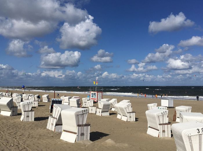 White Blue Clouds Strandkörbe Strandkorb Vacation Sky Cloud - Sky Beach Water Sea Land Chair Sand Horizon Over Water Horizon Nature Scenics - Nature Beauty In Nature Tranquility Seat Tranquil Scene Day Holiday No People Outdoors