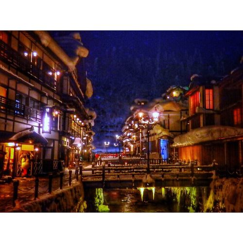 Japan Japanese Style Japan Japan Photography YAMAGATA 日本 銀山温泉 Night Illuminated Building Exterior Architecture Built Structure Outdoors City Sky No People Light And Shadow Lightup LightUpTheNight Japannature Japan Photos Snow ❄ Snow Trip Trip Photo