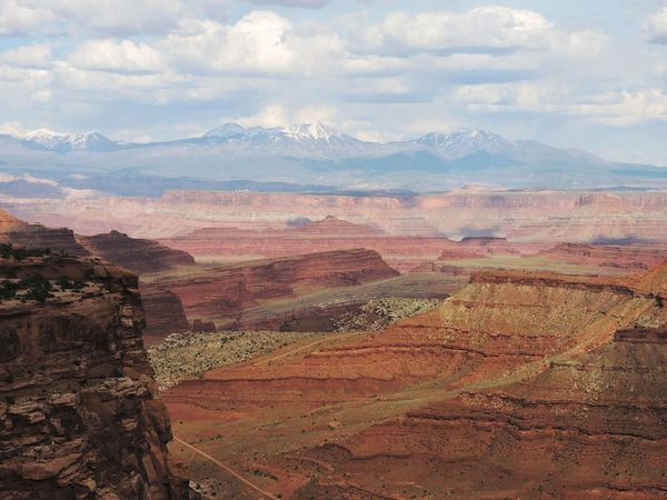Overlook Vista View Landscape American Southwest Canyon and Distant Mountains Island In The Sky Canyonlands National Park Utah