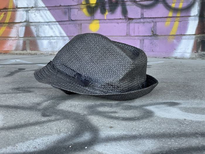 High angle view of hat on floor