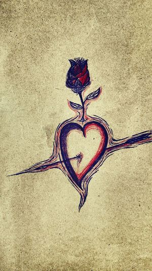 السلام عليكم.....اليوم رسمت (قلب❤الحب).اممم الك ونه😄.......hi friends... the love make the heart warm..(one day can change everything). i hope you like my draw