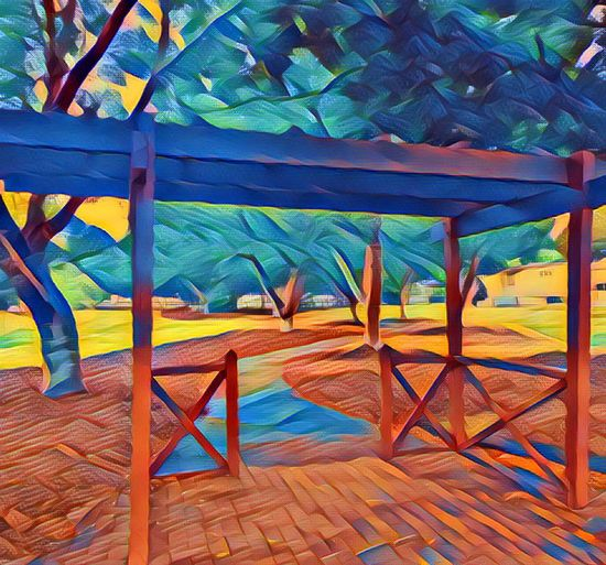Empty Chair Absence Outdoors Multi Colored Blue Orange Color Group Of Objects Shade Outdoor Play Equipment No People Vibrant Color Footpath Archway Arch Park Park View