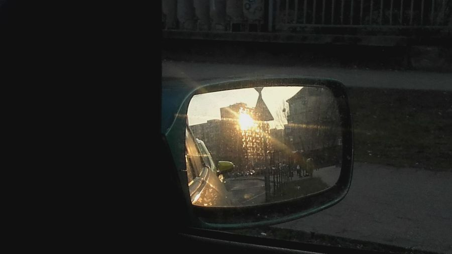 Window Car Reflection Built Structure Architecture No People City Sunset Mirror Reflection Mirror