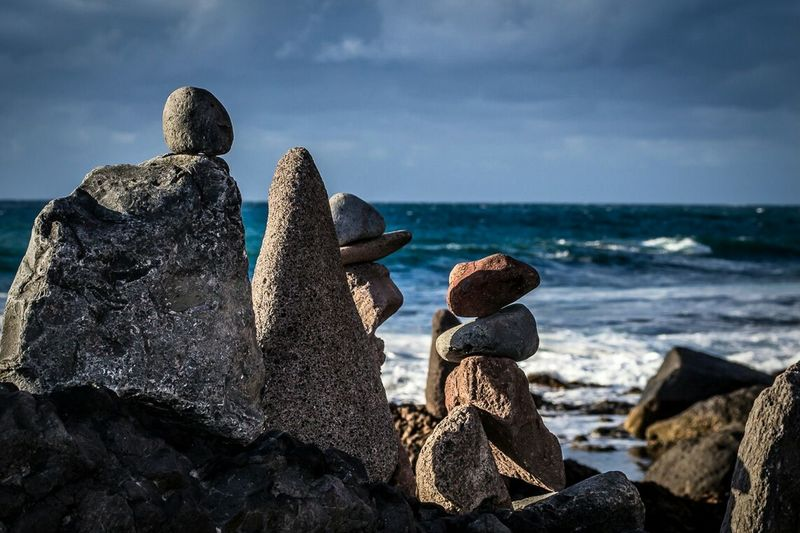 Light And Shadow Stones Seaside The KIOMI Collection Landscape Clouds Waves And Rocks