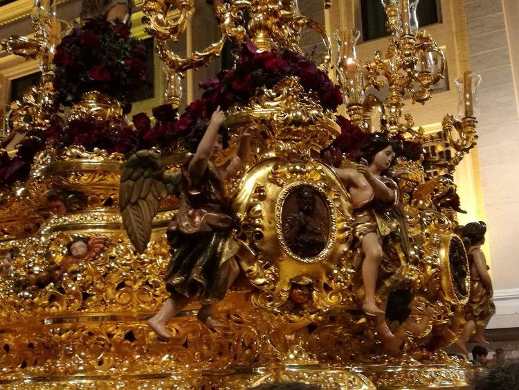 Ángeles del señor Sevilla Spain Semana Santa Miarma A La Gloria Cristo Paso Costaleros Nazareno El Rincón Del Nazareno Going Remote Gold Christmas Ornament Gold Colored Celebration Ornate Close-up Golden