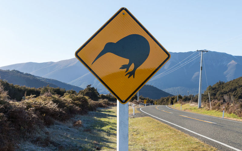 Animal crossing sign at roadside against mountains