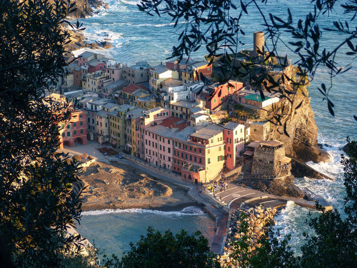 Vernazza seen from one of the various paths that can be traveled in the cinque terre, italy.
