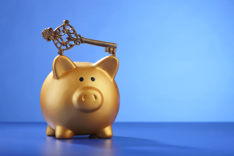 saving for your future Key Of Success Bring Home The Bacon Business Coin Box Copy Space Piggy Bank Blue Blue Background Coin Bank Colored Background Copy Space Debt Finance Home Finances Indoors  Indoors  Investment Key No People Savings Studio Shot Wealth