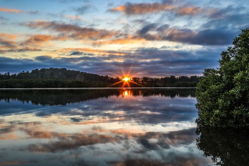 Sunrise over country river with sky reflected in water Beautiful Sky Green Blue Orange Star Rising Sun Sunrise Landscape Karuah Australian Australia Cloud - Sky Nature Beauty In Nature Reflection Sky Sunset Water Tree Scenics Tranquil Scene Tranquility No People Idyllic Outdoors Lake Day