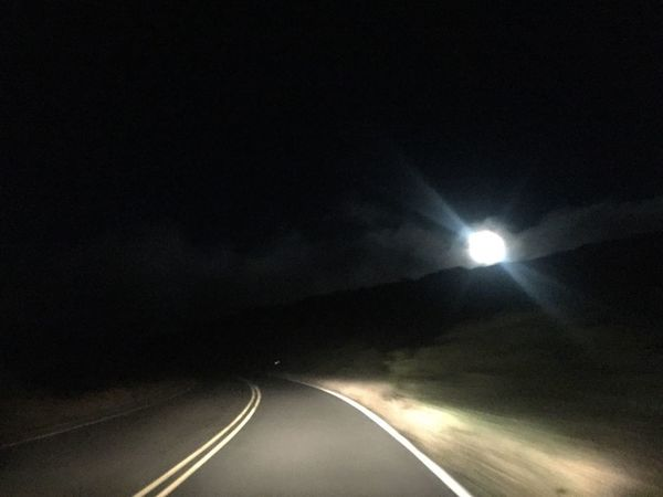 Road The Way Forward Illuminated Transportation Night No People Dividing Line Outdoors Nature Sky Maui Hawaii Full Moon