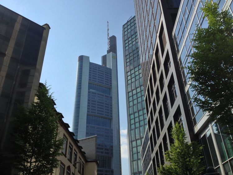 Architecture Bank Banks Building Built Structure City City Exterior Finance Frankfurt Frankfurt Am Main Germany Modern Monochrome Office Building Skyscraper Stockexchange Stocks Tower Urban
