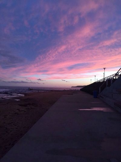 Merewhether Pink Purple Sky Sunset Clouds Beach Sand Cold Nature Night