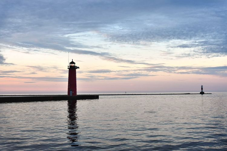 Lighthouse Lighthouses North Pierhead Light Wisconsin Architecture Beauty In Nature Built Structure Cloud - Sky Lighthouse Lighthouses Of Lake Michigan No People Sunset Tower Tranquil Scene Tranquility Waterfront