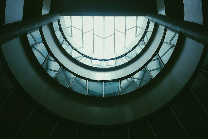 Architecture Built Structure Skylight Indoors  No People Horizontal Sky Illuminated Glowing Architecture Built Structure Spiral Railing Skylight Low Angle View Spiral Staircase Indoors  No People Close-up Horizontal Staircase Sky Day