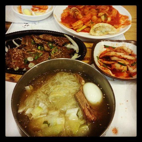 물냉면 +갈비 & 떡볶리 (cold noodles + korean ribs, and spicy rice cake) for dinner!! :)
